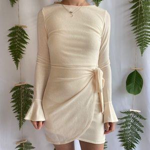 Bell Sleeve Wrapped Mini Dress